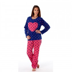 Selena Secrets Ladies Heart Applique Fleece Pyjama Set - Navy
