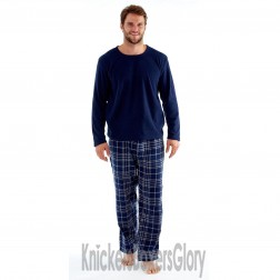 Harvey James Mens Fleece/Flannel Pyjamas - Navy/Grey