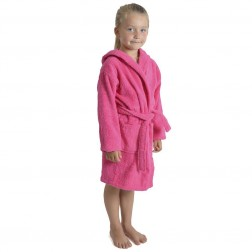 Kids Hooded Towelling Robe - Hot Pink