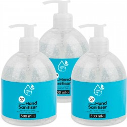 Hand Sanitiser 70% Alcohol Antibacterial 500ml (3 Bottles)