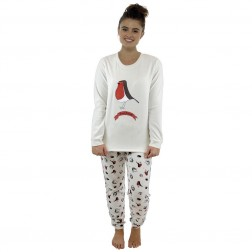 Follow That Dream Ladies Fleece Robin Pyjamas - White