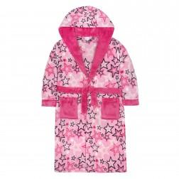 Kids Star Print Fleece Robe - Pink
