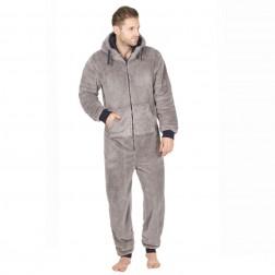 Onezee Mens Snuggle Fleece Onesie  - Grey