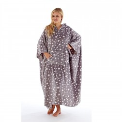 Masq Star Print Fleece Hooded Poncho - Grey