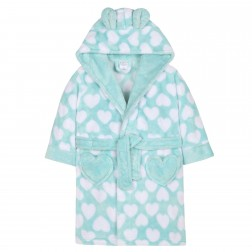 Kids Heart Print Fleece Robe - Aqua