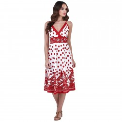 Pistachio Polka Dot Crossover Dress - Red