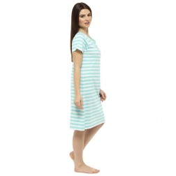 Ladies Short Sleeve Nightie - Green Stripe