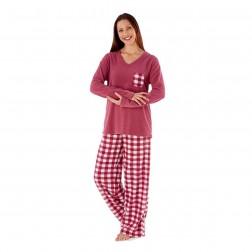 Selena Secrets Ladies Fleece Pyjama Set - Cherry