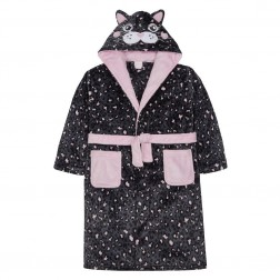 Kids Novelty Cat Fleece Robe - Grey/Pink