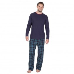 Cargo Bay Mens Jersey/Flannel Pyjamas - Navy