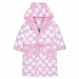 Kids Heart Print Fleece Robe - Pink