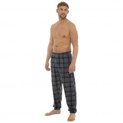 Tom Franks Mens Fleece Check Lounge Pants - Grey