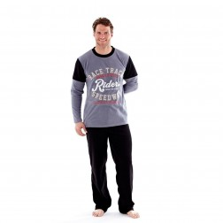 Harvey James Mens Rider Fleece Pyjamas - Grey
