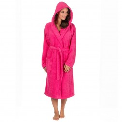 Forever Dreaming Cotton Hooded Towelling Robe - Hot Pink
