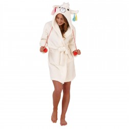 Loungeable Boutique Llama Hooded Robe - Cream