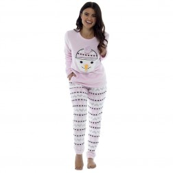 Foxbury Ladies Fleece 3D Snowman Pyjama Set - Pink