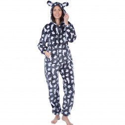 Selena Secrets Rabbit Print Onesie - Charcoal