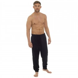 Tom Franks Mens Plain Marl Fleece Lounge Pants - Black