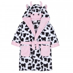 Kids Cow Print Fleece Robe - Black/White