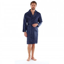 Harvey James Mens Satin Dash Kimono Robe - Navy