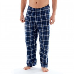 Harvey James Mens Check Fleece Lounge Pants - Navy