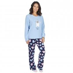 Forever Dreaming Ladies Pug Fleece Pyjamas - Blue