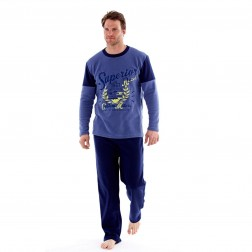 Harvey James Mens Superior Fleece Pyjamas - Navy