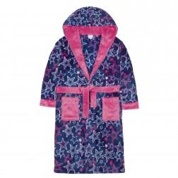 Kids Star Print Fleece Robe - Navy