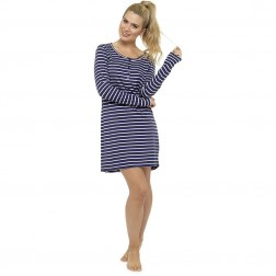 Ladies Long Sleeve Nightie - Blue/Stripe