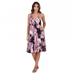 Pistachio Floral Crossover Dress - Purple/Black