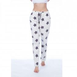 Selena Secrets Ladies Star Print Fleece Lounge Pants - Cream