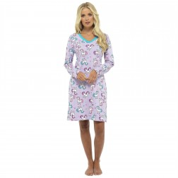 Foxbury Unicorn Print Long Sleeve Nightdress - Lilac
