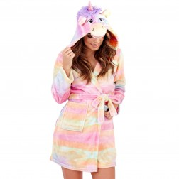 Loungeable Boutique Unicorn Hooded Robe - Rainbow