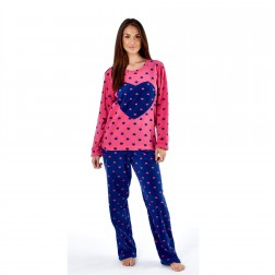 Selena Secrets Ladies Heart Applique Fleece Pyjama Set - Pink