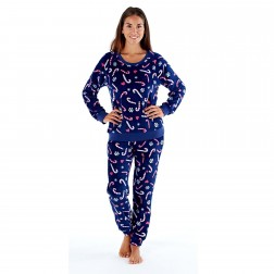 Selena Secrets Ladies Candy Cane Fleece Pyjama Set - Navy