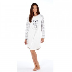 Selena Secrets Ladies Long Sleeve Fleece Nightie - Grey
