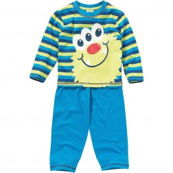 Children's Monster Face Pyjamas - Stripe/Blue