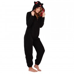 Loungeable Boutique Scotty Dog Onesie - Black/Check