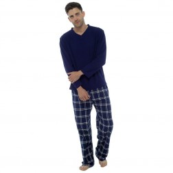 Foxbury Mens Fleece/Flannel Pyjama Set - Navy Check
