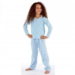 Selena Girl Star Print Fleece Pyjamas - Blue
