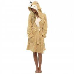 Loungeable Boutique Deer Hooded Robe - Brown