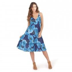 Pistachio Poppy Print Midi Dress - Blue