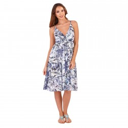 Pistachio Floral Crossover Dress - Navy/White