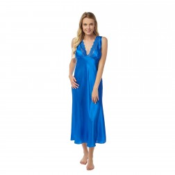 Indigo Sky Ladies Long Satin Nightdress - Peacock