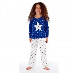 Selena Girl Star Print Fleece Pyjamas - Navy