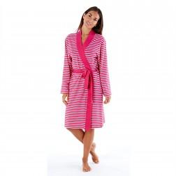 Selena Secrets Kimono Style Striped Robe - Pink