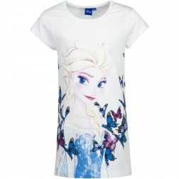 Girls Frozen Elsa/Butterfly Sketch Nightie - White