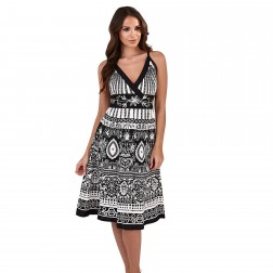 Pistachio Paisley Crossover Dress - Black/White