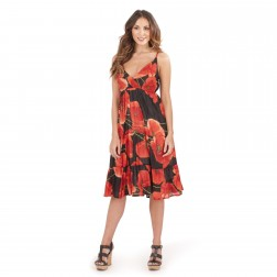 Pistachio Poppy Print Midi Dress - Red
