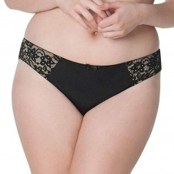 Curvy Kate Vixen Brazilian Brief - Black/Almond